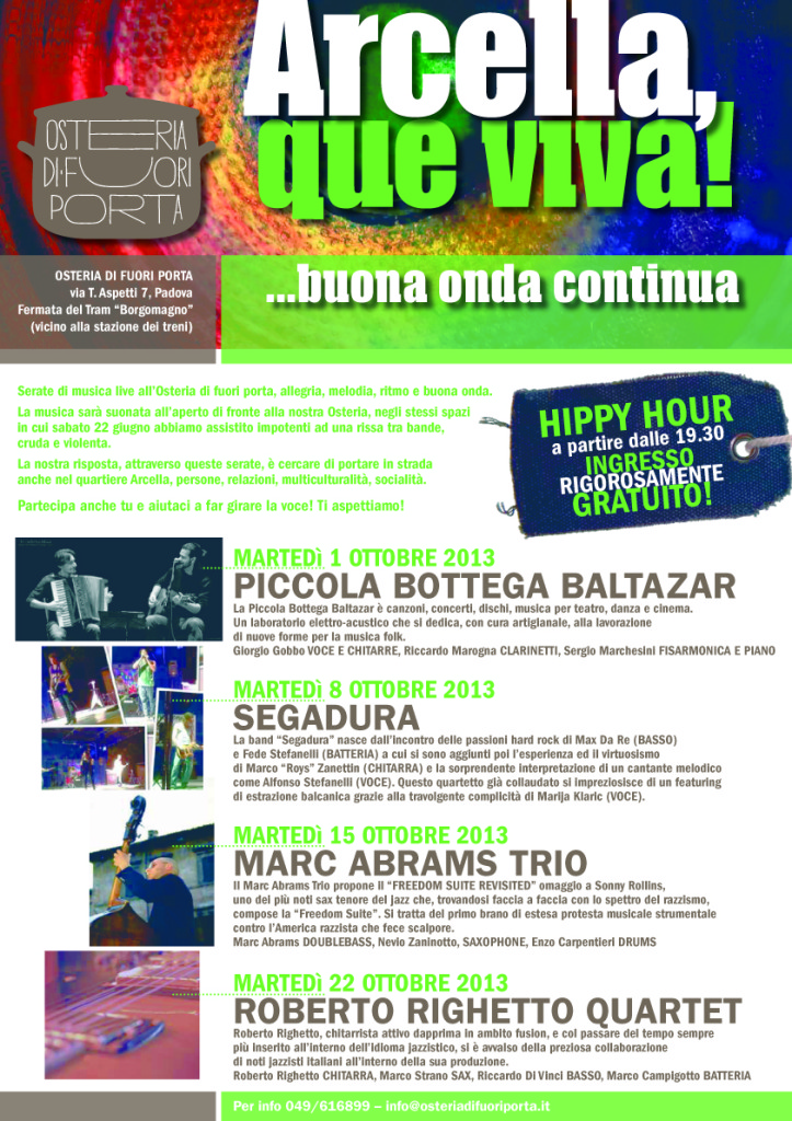 La buena onda continua i nuovi concerti di ottobre - Osteria di fuori porta padova ...
