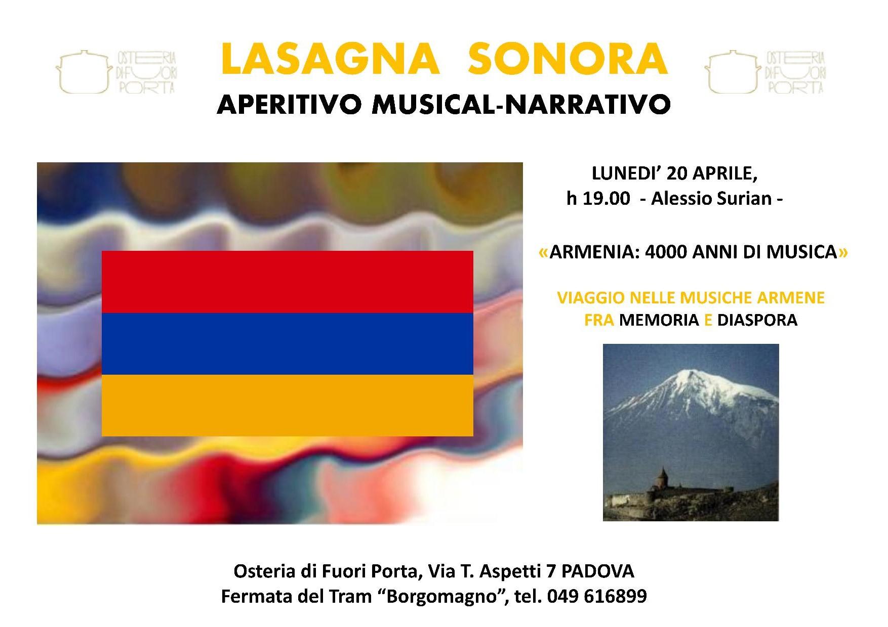 Luned 20 aprile armenia 4000 anni di musica osteria - Osteria di fuori porta padova ...